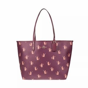 Coach Dark Berry Party Cat Reversible Tote